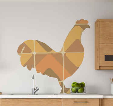 Lovely rooster bird sticker design made in the in the form of an assembled tile. Suitable bird sticker for kitchen and other spaces.