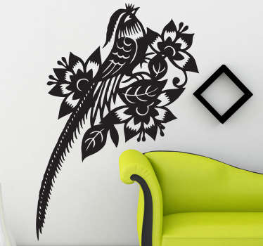 Wall Sticker - Bold illustraction of a tropical bird. Ideal for adding a distinctive touch to any room. Available in a variety of colours and sizes.