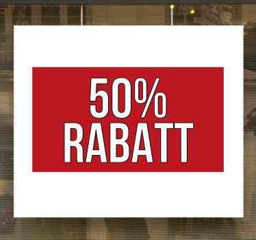 Personalisierte% rabatt verkaufsfenster Aufkleberfür geschäfts- und ladenflächen. Ein hintergrunddesign mit roter quadratischer form und rabattprozentsatz-tag.