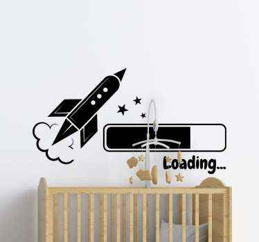 Decorative illustration sticker of a loading space rocket with space element for kids. the colour and size is customizable and it is easy to apply.