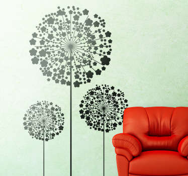 Decorate the wall of your home or business with this elegant floral design illustrating three dandelions from our set of dandelion wall stickers! This plant wall stickers is perfect to give your home what you have been looking for!