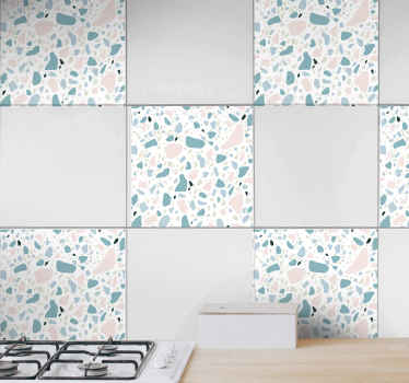 Decorative terrazzo tile pattern sticker to beautify your space . The tile design is suitable to beautify a kitchen wall space.