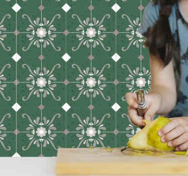 あなたの台所、浴室または寝室の装飾および他の興味のあるスペースのための装飾的な緑のタイルパターンの壁のステッカー。
