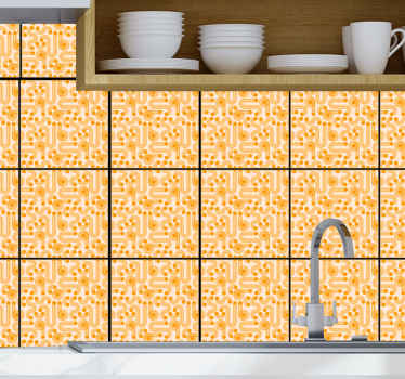 Orange geometric tiles sticker to decorate any space in your house. The design is suitable for a kitchen, bathroom and bedroom.