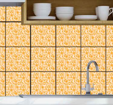 Autocollant de carreaux géométriques orange pour décorer n'importe quel espace de votre maison. Le design convient à une cuisine, une salle de bain et une chambre.