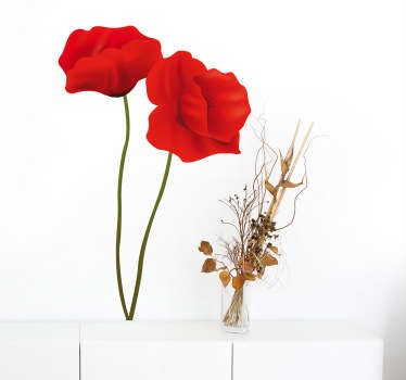 Two beautiful and elegant red poppies from our collection of poppy wall stickers to decorate any space at home.