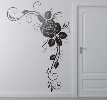 Decorate the corners of your home with this elegant rose floral wall sticker. This flower wall sticker is available in 50 different colours and any size you could want meaning it is ideal for adding a touch of style to the corner of any wall, door, cupboard, device and more!