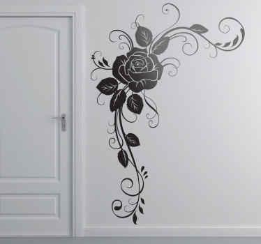 Adhésif mural rose ornement floral