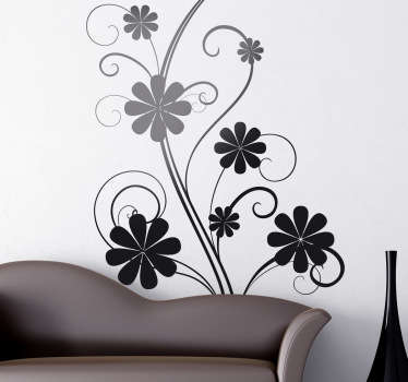 Wandtattoo verschnörkelte Blumen
