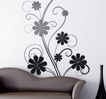 Sticker silhouette plant krullen bloemen