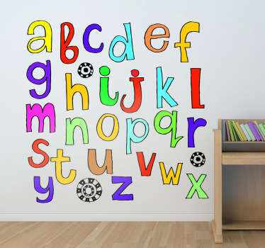 Abc veggmaleri perfekt for å lære de 26 bokstavene i alfabetet, egnet for plass og overflate. Dekorere barnas soverom eller barnehage med dette pedagogiske dekalet fullt av levende farger og dekorasjon.