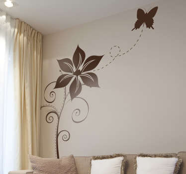 Decals - Elegant and distinctive design of a butterfly flying away from a flower. Available in various colours and sizes.