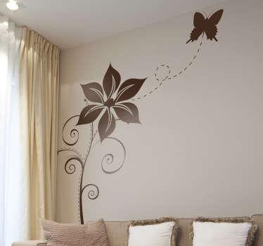 Sticker decoratie bloem en vlinder