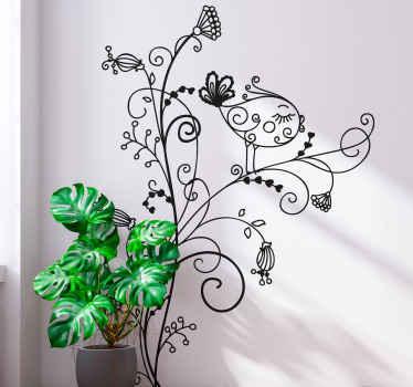 Floral Bird Curl Wall Sticker