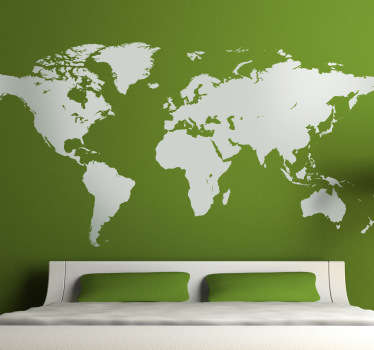 A classic mono-colour world map sticker that is ideal for decorating any room in your home in an original way.
