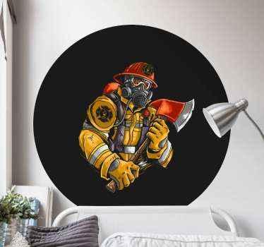 adhesif de pompier qui présente une image d'un pompier dans un uniforme classique avec une hache et un couvre-visage. L'homme a l'air prêt pour l'action.
