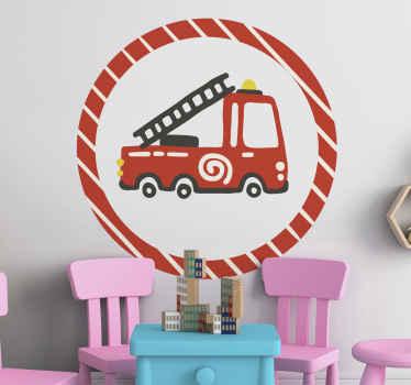 adhesif chambre enfant cycle rouge pompier. Le design peut être appliqué sur n'importe quelle surface plane et il est facile à appliquer.