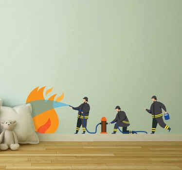 Conception de adhesif chambre enfant idéal illustrant un groupe de pompiers éteignant le feu. Si votre enfant aime ce caractère et cette personnalité.