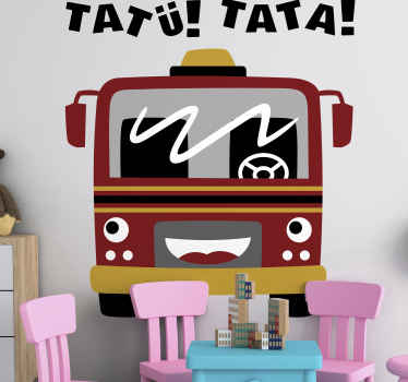 Children illustration firefighter bus sticker. Suitable to decorate a wall, furniture and any flat and smooth surface in children's room or play room.