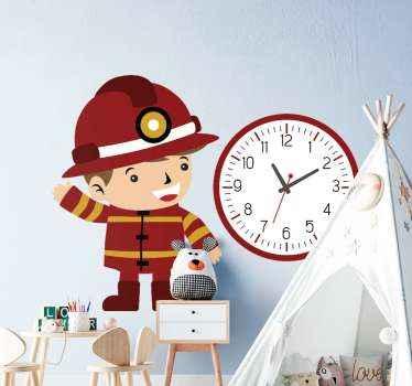 adhesif chambre enfant horloge pompier. Une conception contenant une illustration d'un pompier d'enfant et une horloge. Il est facile à appliquer.