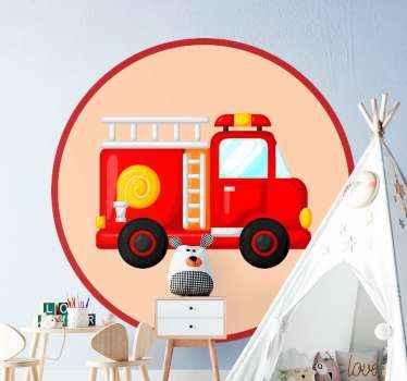 Décorez la chambre de votre tout-petit avec notre stickers voiture de pompier rouge illustration originale et facile à appliquer.