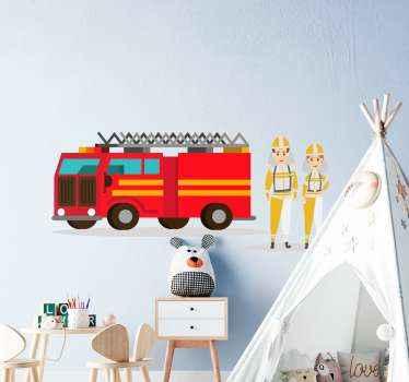 Autocollant d'illustration approprié pour la chambre des enfants. Un dessin illustrant une femme et un homme pompier avec fourgon