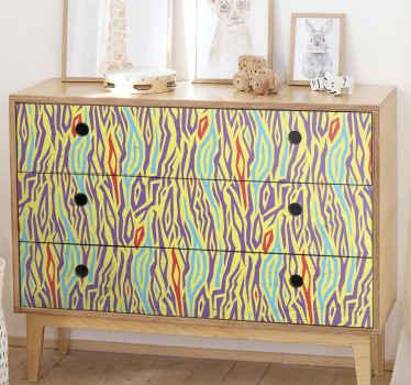 Decora tus muebles con nuestro original papel adhesivo para muebles con estampado animal cebra vintage de colores ¡Es fácil de aplicar!