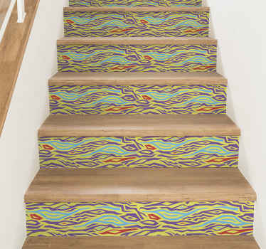 Beautify your stair case with our self adhesive decorative colorful zebra animal print decal for stairs.  It is original, easy to apply and removable.