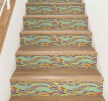украсьте свою лестницу с помощью нашей самоклеящейся декоративной наклейки с красочным принтом зебры для лестницы. он оригинальный, легко наносится и снимается.