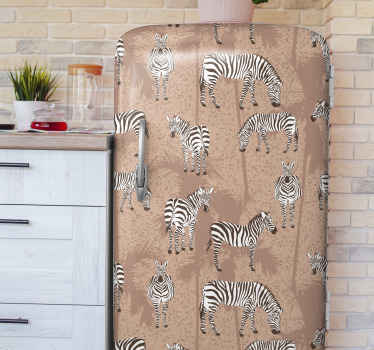 You can wrap any fridge door space with this lovely Zebra animal and palms brown fridge sticker and it would transform it in a lovely way.