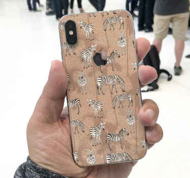 Looking for a decorative iPhone decal with zebra animal print?.  This lovely zebra and palm design on brown background would just be amazing.