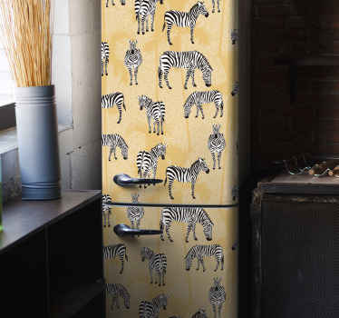 Decorative Zebra and palms fridge sticker wrap for fridge surface. The application of the sticker is very easy with the use of spatula.