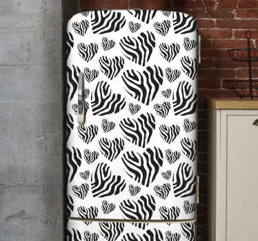 Beautiful zebra animal print fridge door decal to wrap the door space of a fridge with a beautiful touch.  It is easy to apply and removable.