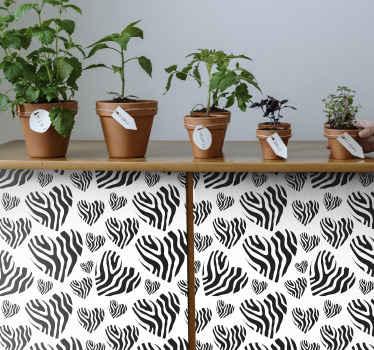 美しく装飾的なゼブラアニマルプリントの家具デカールは、あらゆる家具スペースの表面を包みます。適用と取り外しが簡単。