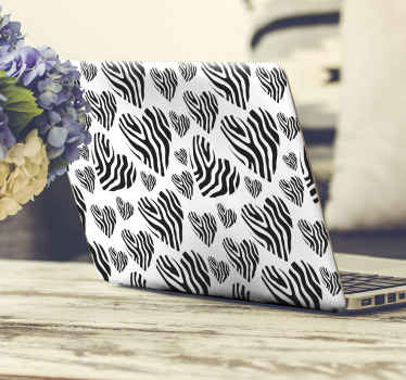 Lovely laptop sticker design illustrating a zebra animal print in heart shapes. This Zebra animal print heart laptop skins decal is easy to apply.