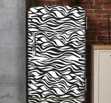 Zebra background fridge decal for decorating a fridge door space. It is easy to apply and printed with high quality vinyl. Available in any dimension.