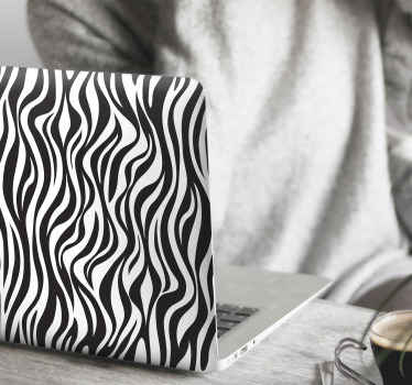 A decorative zebra background laptop decal for people who love zebra skin patterns. It is easy to apply, durable and adhesive.