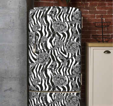 Zebra print ornamental flowers fridge sticker from our collection of decorative zebra pattern ornamental decal.  Easy to apply, durable and adhesive.