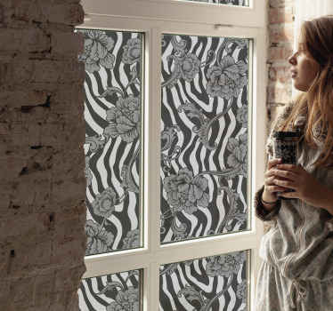 Decorative flower decal for window decoration. A design of zebra patterns that you would love and it would cover the surface of any window space.