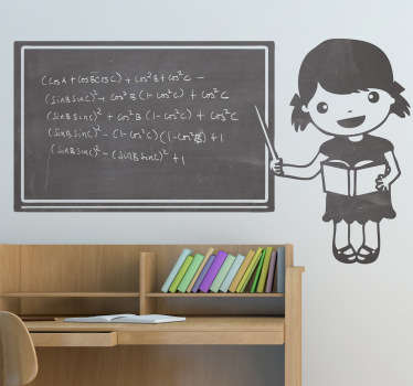 Little Girl Teacher Blackboard Sticker