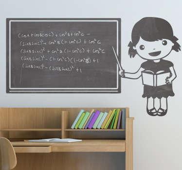 Adesivo murale lavagna bimba professoressa