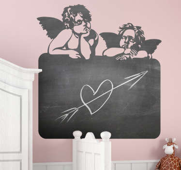 A superb blackboard decal illustrating two angels on top of the board. This angel wall art sticker is perfect for the little ones at home.