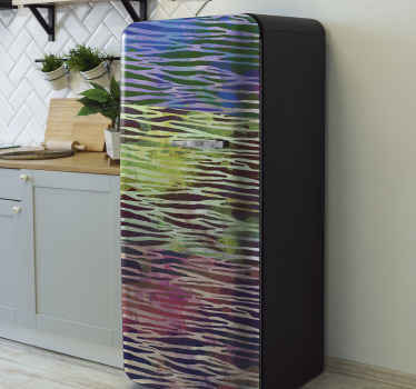 Abstract Zebra texture fridge sticker to beautify the door surface of your fridge space. It is self adhesive, durable and really easy to apply.
