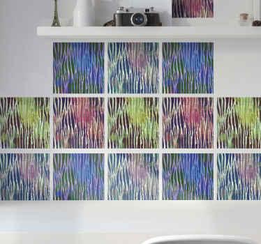 キッチン、リビングルーム、寝室を飾るためのカラフルな抽象的なゼブラタイルのウォールステッカー。色は生き生きとしていて、どんな空間も明るくします。