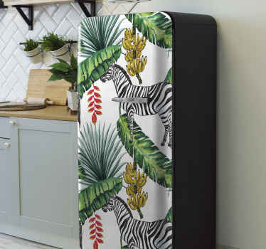 Lovely nature pattern fridge sticker to wrap the door space of your fridge space. The design contains palm leaves, banana trees with zebras.