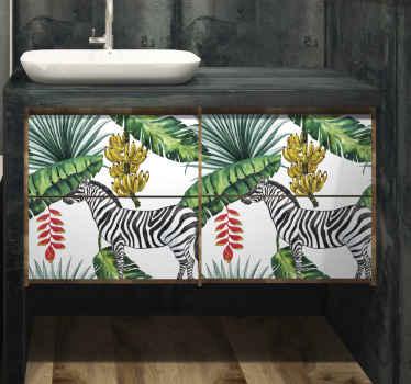 Papel adhesivo para muebles con diseño de ilustración de hojas de palmera, plátano y cebras. Medidas personalizables