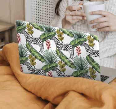 Decorate your laptop with this original Nature pattern laptop skins decal. The sticker contains design of zebras with palm leaves and bananas tree.