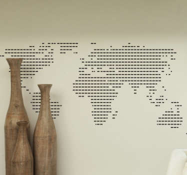 A lined World map decal from our collection of line stickers. Our home stickers and office decals come in many different sizes for you to choose from.