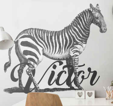 Customizable name zebra wall decal from our collection of zebra animal vinyl decal. It is customizable with a name, it is original and durable.
