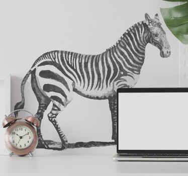 Embellezca su hogar con este increíble vinilo de animales salvajes con ilustración de cebra en blanco y negro vintage ¡Envío exprés!